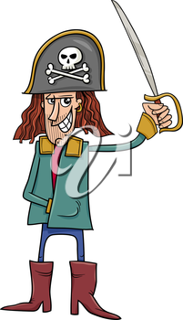 Cartoon Illustration of Funny Pirate Captain with Sword and Jolly Roger Sign