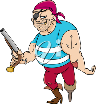 Cartoon Illustration of Funny Pirate Officer with Peg Leg and Gun