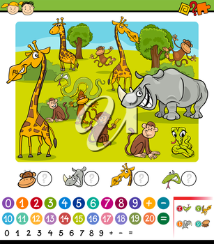 Cartoon Illustration of Education Mathematical Game for Preschool Children with Safari Animals