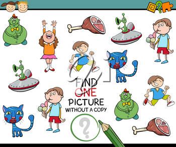 Cartoon Illustration of Educational Game of Finding Single Picture without a Copy for Preschool Children