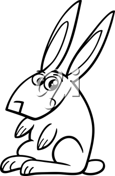 Black and White Cartoon Illustration of Rabbit Farm Animal Character for Coloring Book