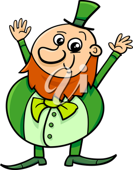 Cartoon Illustration of Happy Leprechaun on Saint Patrick Day