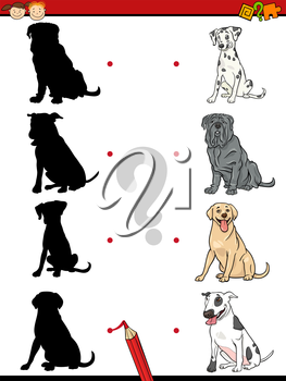 Cartoon Illustration of Education Shadow Task for Preschool Children with Purebred Dogs Animal Characters