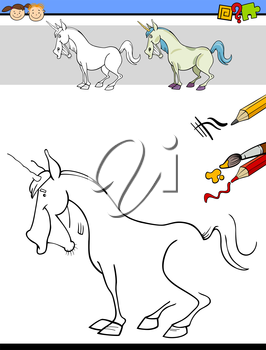 Cartoon Illustration of Drawing and Coloring Educational Task for Preschool Children with Unicorn Fantasy Character