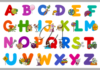 Cartoon Illustration of Capital Letters Alphabet with Objects for Reading and Writing Education for Preschool Children