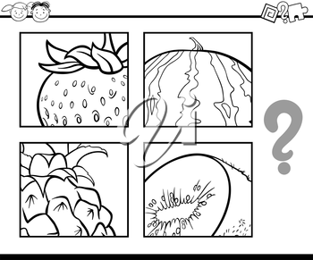 Black and White Cartoon Illustration of Education Task for Preschool Children od Guess the Fruits for Coloring