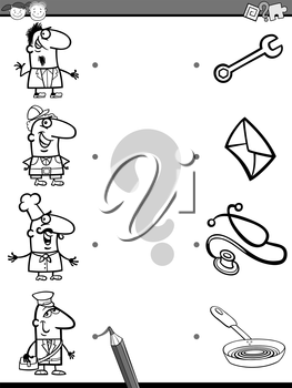 Cartoon Illustration of Education Element Matching Task for Preschool Children with People Occupations Coloring Book
