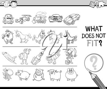 Black and White Cartoon Illustration of Finding Improper Picture in the Row Educational Game for Children Coloring Book