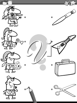 Black and White Cartoon Illustration of Education Element Matching Game for Preschool Children with People Occupations Coloring Book