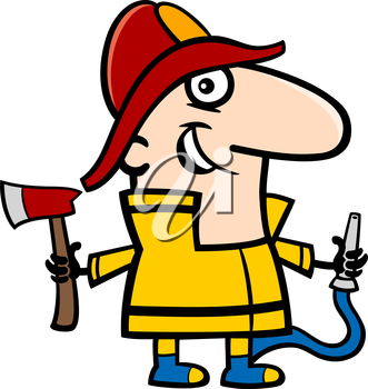 Cartoon Illustration of Funny Fireman in Uniform Professional Occupation