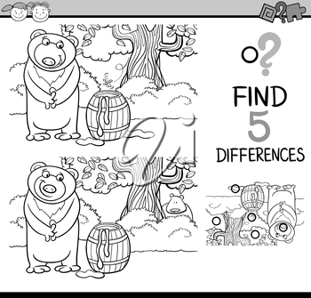 Black and White Cartoon Illustration of Finding Differences Educational Task for Preschool Children with Beaver Animal Character for Coloring Book