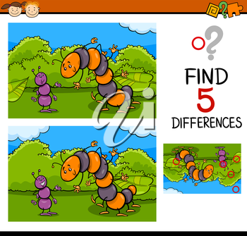 Cartoon Illustration of Finding Differences Educational Task for Preschool Children with Ant and Caterpillar Insect Characters