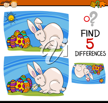 Cartoon Illustration of Finding Differences Educational Task for Preschool Children with Easter Bunny