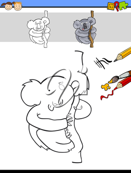 Cartoon Illustration of Drawing and Coloring Educational Task for Preschool Children with Koala Animal Character