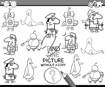 Black and White Cartoon Illustration of Educational Task of Finding Single Picture for Preschool Children for Coloring