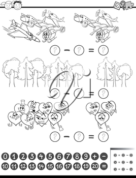Black and White Cartoon Illustration of Education Mathematical Subtraction Task for Children Coloring Book