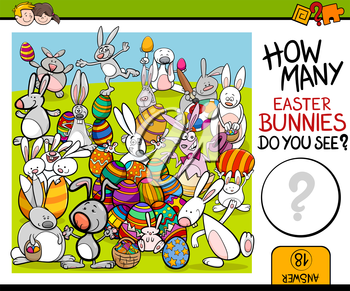 Cartoon Illustration of Educational Counting Task for Preschool Children with Easter Bunny Characters