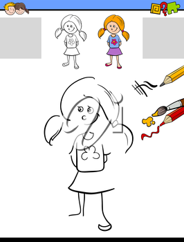 Cartoon Illustration of Drawing and Coloring Educational Activity for Preschool Children with Cute Girl Character