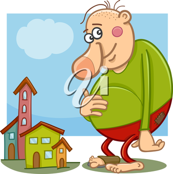 Cartoon Illustration of Funny Giant Fantasy or Fairy Tale Character