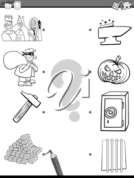 Cartoon Illustration of Educational Matching Task for Preschool Children with People and Objects Coloring Page