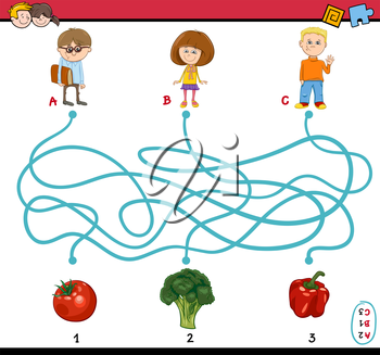 Cartoon Illustration of Educational Paths or Maze Puzzle Task for Preschoolers with Children and Vegetables