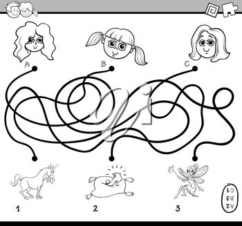 Black and White Cartoon Illustration of Educational Paths or Maze Puzzle Activity for Preschool Children with Little Girls Coloring Book