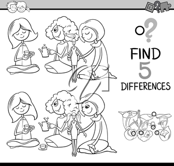 Black and White Cartoon Illustration of Finding Differences Educational Activity for Preschool Children with Girls Playing House for Coloring Book