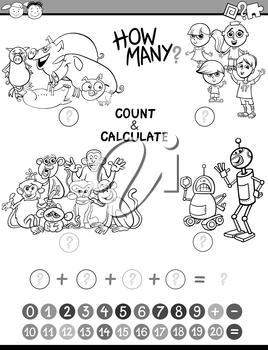 Black and White Cartoon Illustration of Educational Mathematical Count and Addition Activity Game for Preschool Children Coloring Book