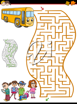 Cartoon Illustration of Education Maze or Labyrinth Activity Task for Preschool Children with School Bus and Kids