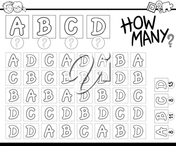 Black and White Cartoon Illustration of Educational Counting Activity Task for Preschool Children Coloring Book