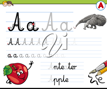 Cartoon Illustration of Writing Skills Practise with Letter A Worksheet for Children