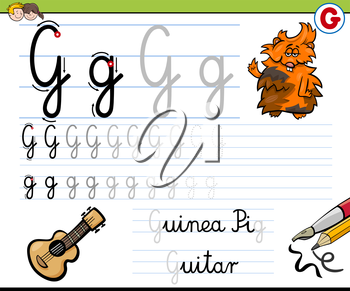 Cartoon Illustration of Writing Skills Practice with Letter G Worksheet for Children