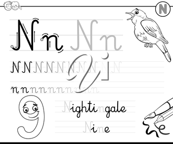 Black and White Cartoon Illustration of Writing Skills Practice with Letter N Worksheet for Children Coloring Book