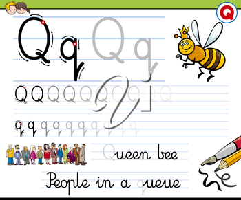 Cartoon Illustration of Writing Skills Practice with Letter Q Worksheet for Children