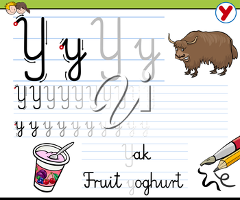 Cartoon Illustration of Writing Skills Practice with Letter Y Worksheet for Children