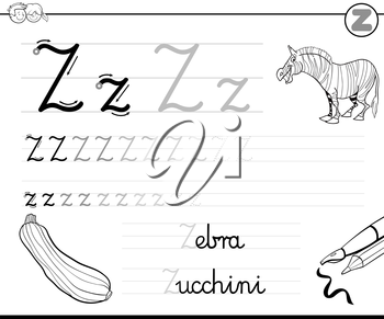 Black and White Cartoon Illustration of Writing Skills Practice with Letter Z Worksheet for Children Coloring Book