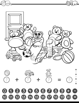Black and White Cartoon Illustration of Educational Mathematical Counting and Addition Activity Task for Children with Toys for Coloring Book