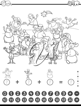 Black and White Cartoon Illustration of Educational Mathematical Counting and Addition Activity Task for Children with Christmas Characters for Coloring Book