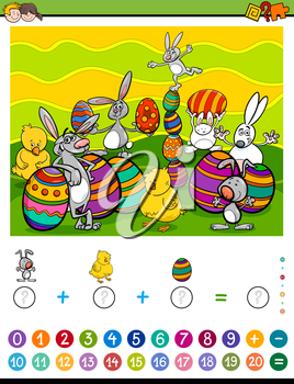 Cartoon Illustration of Educational Mathematical Counting and Addition Activity Task for Children with Easter Characters