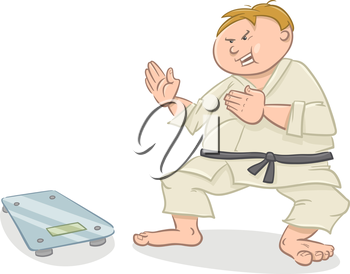 Cartoon Humorous Illustration of Man on Diet Fighting with Scale
