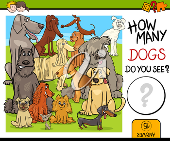 Cartoon Illustration of Educational Counting Activity Task for Children with Purebred Dog Characters