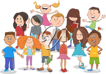 Cartoon Illustration of Elementary School Age Children or Teen Characters Group