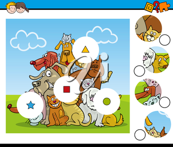 Cartoon Illustration of Educational Match the Elements Activity Task for Children with Dog Characters
