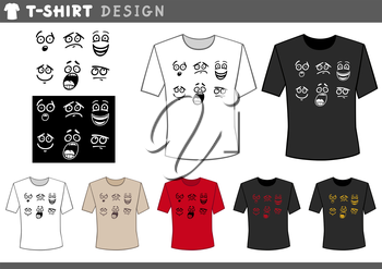 Illustration of T-Shirt Design Template with Emoticons or Emotion Signs
