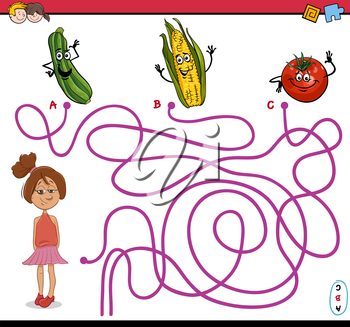 Cartoon Illustration of Educational Paths or Maze Puzzle Activity with Girl and Vegetables