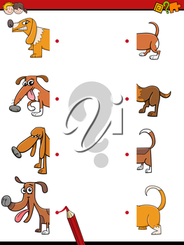 Cartoon Illustration of Education Activity Game of Matching Halves with Dog Characters