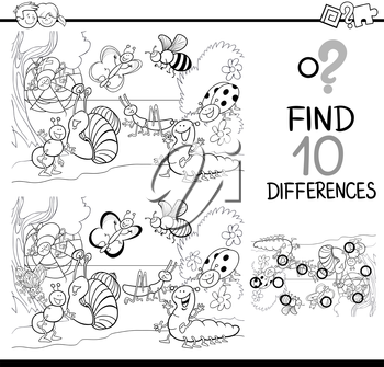 Black and White Cartoon Illustration of Finding Differences Educational Activity for Children with Insect Characters Coloring Book