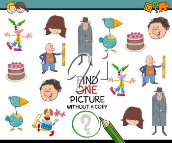 Cartoon Illustration of Educational Activity of Finding Picture without Copy for Children