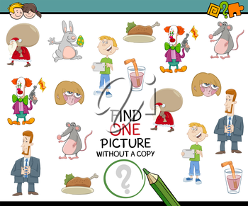 Cartoon Illustration of Educational Activity of Finding Picture without Pair for Children