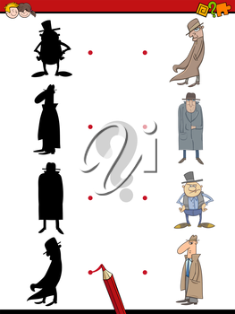 Cartoon Illustration of Find the Shadow Educational Activity Game for Children with Man in Hat